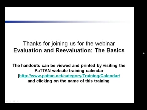 Evaluation and Reevaluation - The Basics